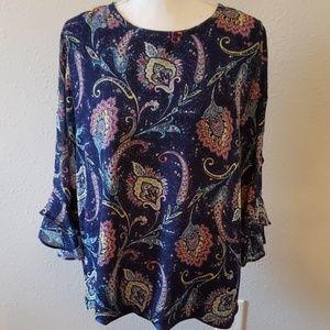 Valerie Stevens Large Blouse w/Ruffled Sleeves